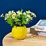 GaoTuo Konstgjorda blommor med vas, konstgjorda blommor silke konstgjorda blommor i kruka, slät vaseb?konstgjord växt, för he