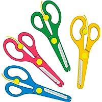 Ciseaux sécurisés pour enfants de couleur rouge, bleue, jaune ou verte 4er-Set
