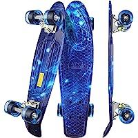 "WeSkate Mini Cruiser Skateboard Tavola Completa retrò 22""55cm Tavola da Skate Vintage con Bordo in Plastica Cruiser…"