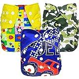 Babymoon (Set of 3) Reusable Cloth Diaper, Premium Adjustable Size Waterproof Washable Pocket Cloth Diaper Nappie (SUV…
