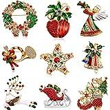 9 Pezzi Spilla di Natale Pin di Neve Set con Decorazioni Natalizie in Cristallo di Strass (Set di angoli)