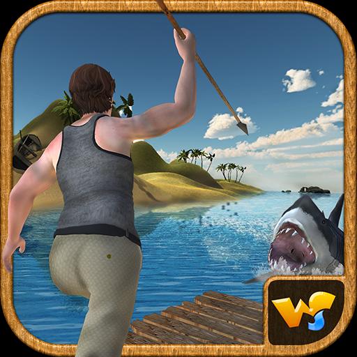 Floß Überlebens Insel Unterwasserhaifisch Angriff -