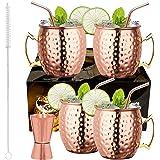LIVEHITOP Ensemble 4 Tasses Mule Moscou, 18 Oz Tasse Cuivre avec 4 Sous-verres, 4 Pailles, Jigger & Brosse à Paille, Elle et