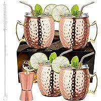 LIVEHITOP Ensemble 4 Tasses Mule Moscou, 18 Oz Tasse Cuivre avec 4 Sous-verres, 4 Pailles, Jigger & Brosse à Paille…