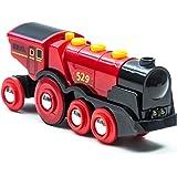 BRIO World 33592 Rött batteridrivet action-lok | Mighty Red Action Locomotive 1 del Batteridrivet leksakståg med ljud och lju