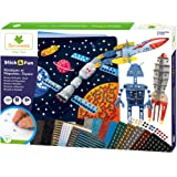 SYCOMORE-CRE7021 Mosaïques Autocollantes Enfants-3 Tableaux et 3 maquettes animés-Espace-Loisir créatif-Stick & Fun-Dès 5 ans