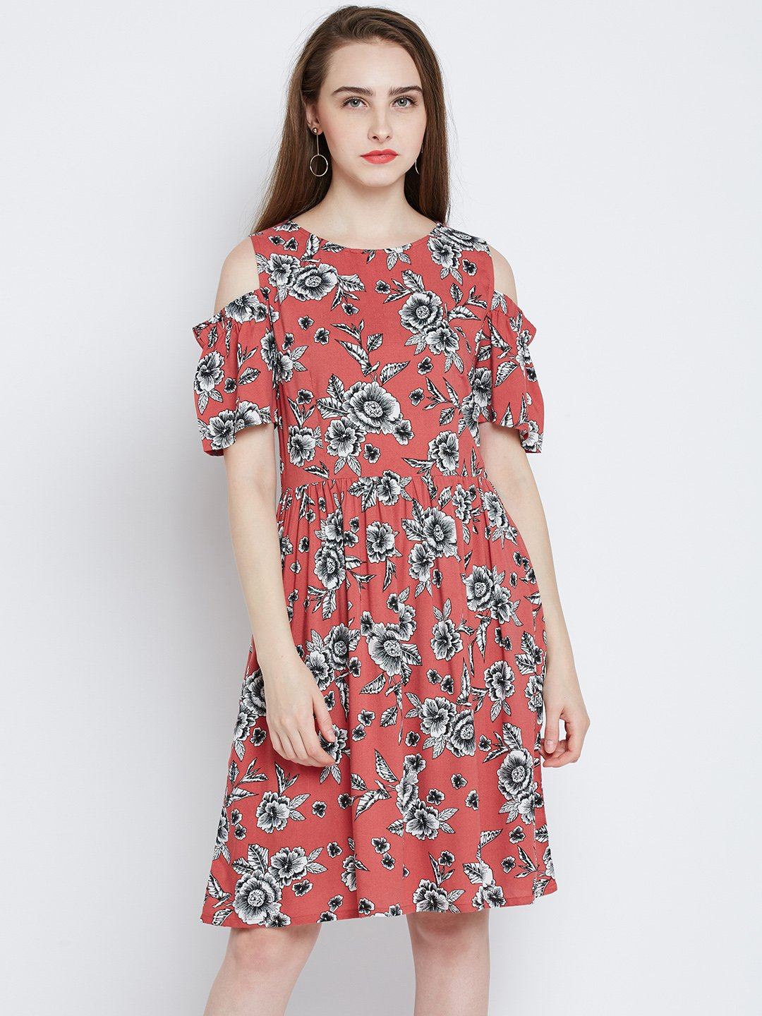 Marie Claire Women Rust Red Floral Print Fit & Flare Dress