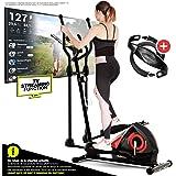 Sportstech CX608 Vélo Elliptique Appartement Fitness Ergomètre Cardio intérieur Compatible avec Bluetooth, App Smartphone (Kinomap), Porte-Tablette, Poids d'inertie 12 kg + Ceinture Cardio