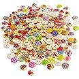 BETOY 200 pcs Bottoni in legno dipinto Colorati -Assortiti Bottoni Decorativi 2 Fori - Perfetti per tutte le attività artigia
