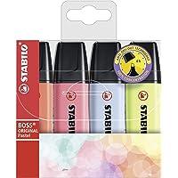 Textmarker - STABILO BOSS ORIGINAL Pastel - 4er Pack - Korallrot, Kirschblütenrosa, Wolkenblau, Prise von Limette