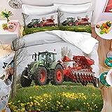 QIAOJIN Parure de lit 3 pièces motif tracteur et moissonneuse-batteuse pour enfants en microfibre douce Housse de couette et