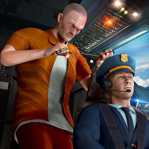Hijack Cop Chase Verbrechen Gangster Spiele: Gefängnis entkommen Überleben im Flugzeug Flugsimulator Abenteuer Mission Free 3D ()