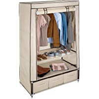 TecTake Armoire de Rangement en Tissu Textile Pliable avec 3 tiroirs et Tringle à vêtements - diverses Couleurs au Choix…