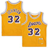 USNN Chalecos de baloncesto al aire libre Magic Los Angeles NO.32 Lakers Johnson preescolar 1984-1985 Hardwood Classics Throw