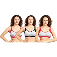 Shabby Lingerie Women's Seamless Non-Padded Cotton Sports Bra Size-(Pack of 3,Multi7)