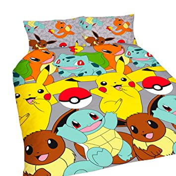 pokemon catch repeat print design duvet set multi colour double