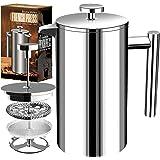 Fransk kaffepress - dubbelvägg 100 % rostfritt stål - 1 000 ml/ 1 liter / 8 koppar (32 oz) - av KICHLY