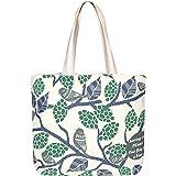 EONO Große Leinwand-Tasche Baumwolle Einkaufstüten wiederverwendbare Umweltfreundliche Einkaufstasche für Frauen mit Reißvers