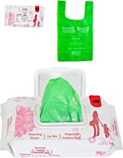 Lifekrafts Smartmom Kid's Bio-Degradable Scented Disposable Diaper Bags with Controlled Handle Ties (Green, clrmyl-smdbp100, 100 Pcs)
