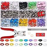 Holle vaste drukknopenset, metalen ring, knoopje, drukknopen voor baby- en kinderkleding, naaigaren 9,5 mm, 10 kleuren