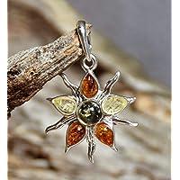MJ Baltica ciondolo Argento 925 e Ambra Naturale fiore sole BW004a