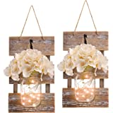 HOMKO Mason Jar Sconce with LED Fairy Lights and Flowers Large Brown