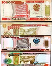 GOLD MINT Set of 2 Different Bank of Mozambique Original Foreign Currency Banknotes Legal Money