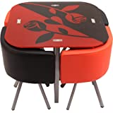 URBANDAILY Metal 4 Seater Dining Set   Red and Black