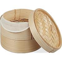Relaxdays 10027850 cuiseur Vapeur Bambou, Panier Asiatique avec 2 étages, pour Dim Sum, Riz, Bamboo Steamer, Ø 20,5 cm…