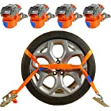 4 x Spanriemen autotransport 2000 kg / 2,9 m / 35mm wielbeveiliging bandgordel sjorriem auto transport veiligheidsgordel