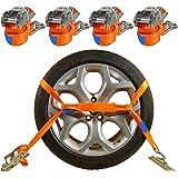 4 x 2 000 kg biltransportband 2,9 m legering hjulbindemedel spärrremmar bildäck bälte lås rem