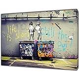 """Banksy Life is korte Kids Art herdruk op ingelijste canvas muur kunst woondecoratie 34 """"x 24"""" inch -18mm diepte"""