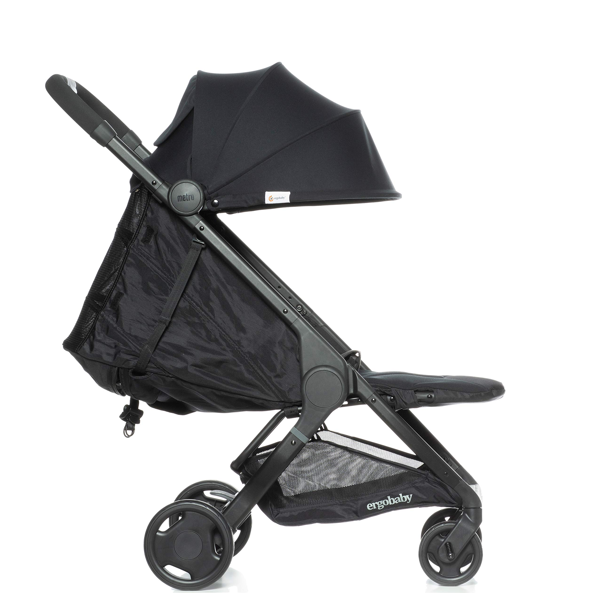 ErgobabyMetro Lightweight Buggy Stroller Pushchair with Sun-Shade Canopy One Hand Foldable, 6Months to 18kg Toddler (Black) Ergobaby A stroller that knows no limits. The ErgobabyMetro Strollers are ultra compact and fits effortlessly into small car boots and most aeroplane luggage compartments. An ideal baby and infant travel system. Baby comfort without compromise - soft, comfortable Stroller packed with plush, cushy padding that supports baby's head, back, bottom and legs . Advanced multi-zone support, and an adjustable footrest give your baby a comfortable seat. The gentle suspension and the shock absorbing PU tyres effortlessly tackle challenges such as kerbs, cobblestones and paving stones. Padded handle and strap. Storage tray for bags and shopping. 9