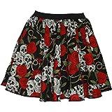 """Ladies 15"""" Day of The Dead Skulls & Roses Halloween Fancy Dress Skater Skirt"""