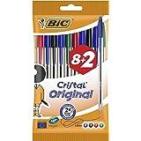 BIC Cristal Original Balpennen Medium Punt (1,0 mm) - Verschillende Kleuren, Pak van 8+2 Stuks