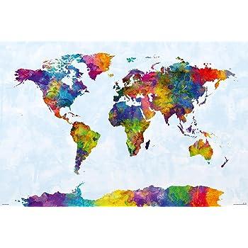 Close Up Watercolor World Map XXL-Poster (140x 100cm) von Michael ...