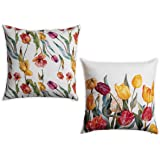 Amazon Brand - UMI Florals - Tulip Garden 100% Cotton Pack of Two Cushion Covers 45 cm by 45 cm