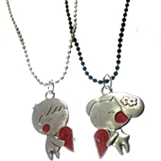 Modish Look Valentine Girl Boy Love Two Magnetic Lockets with Chain