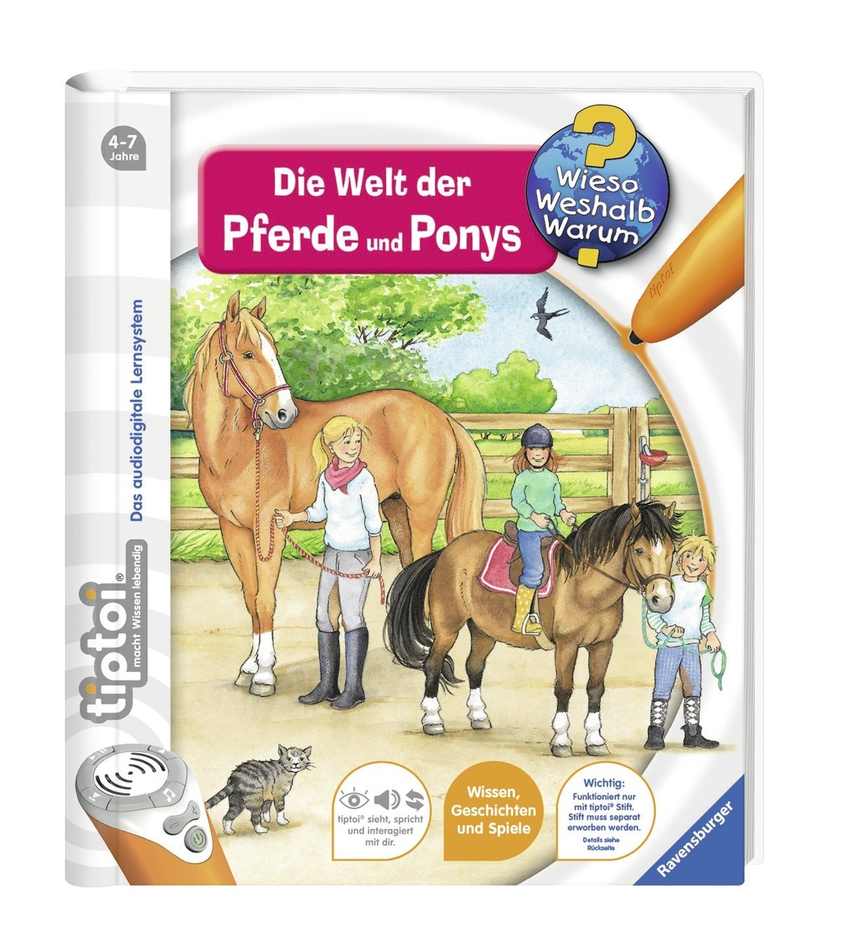 tiptoi-Ravensburger-Buch-Wieso-Weshalb-Warum-13-Die-Welt-der-Pferde-und-Ponys-Hunde-und-Katzen-Sticker