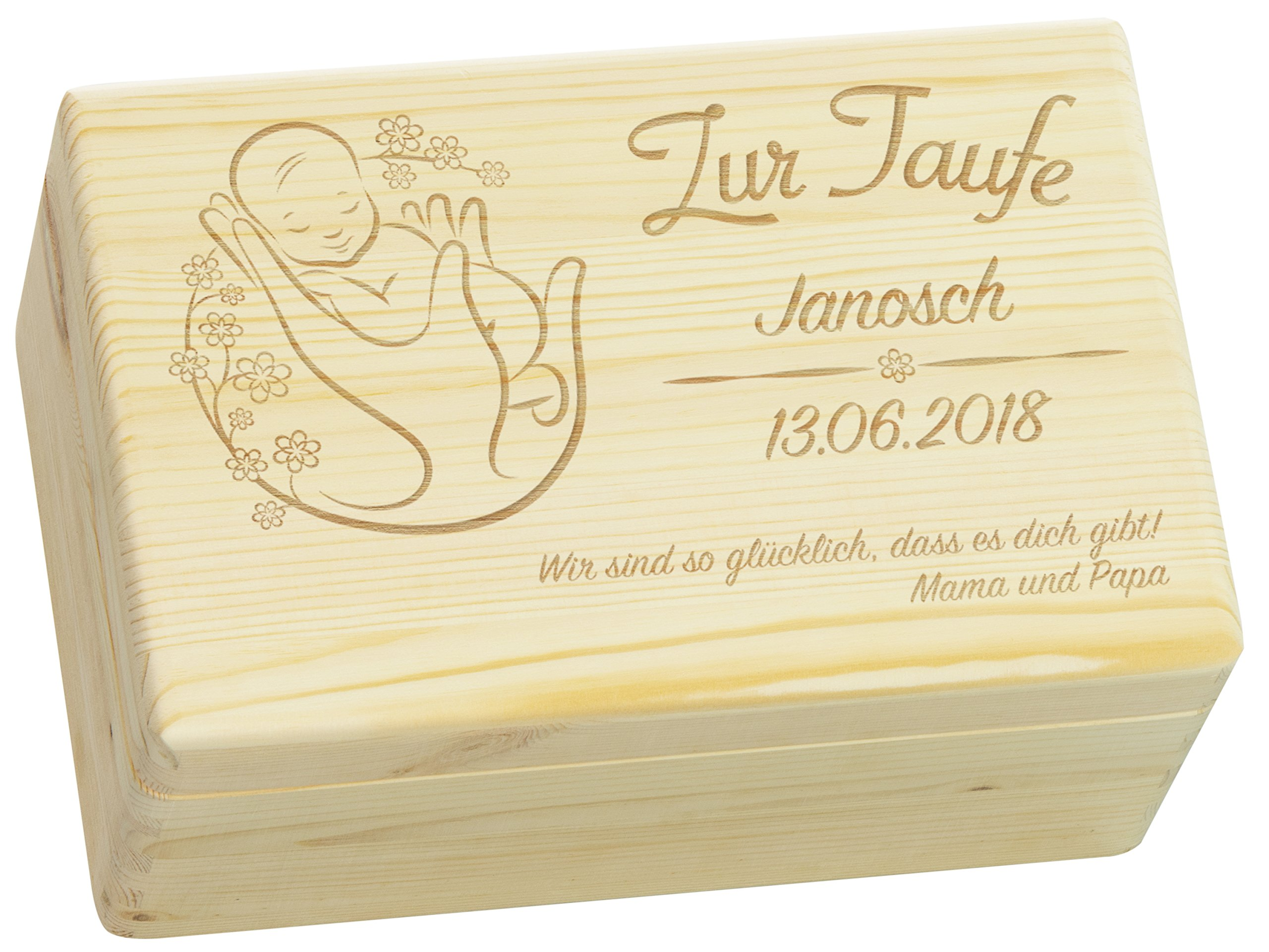 LAUBLUST Holzkiste mit Gravur - Personalisiert mit Name | Datum | WIDMUNG - Natur Größe M - Blumenbaby Motiv…