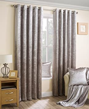 Velva Natural- Luxury Crushed Velvet Fully Lined Eyelet Curtains ...