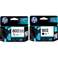 HP 802 2-Pack Small (1 Black+Tri-Color Ink Cartridge)