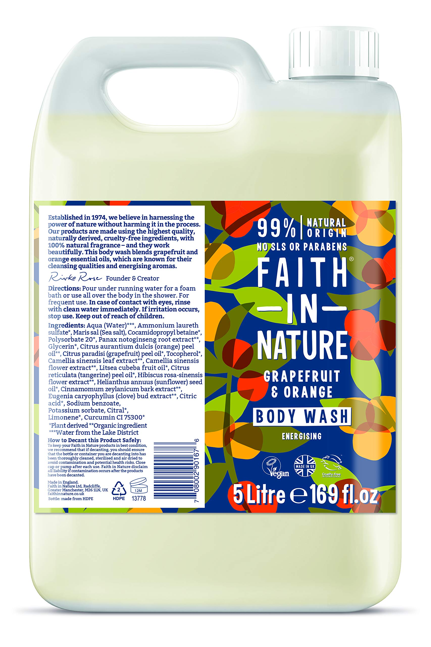 Faith In Nature 10/GR5 Grapefruit & Orange Body Wash - 5l 1