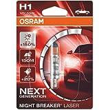 OSRAM NIGHT BREAKER LASER H1, next generation, +150% more brightness, halogen headlamp, 64150NL-01B, 12V, passenger car…