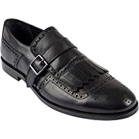 Jack Martin - Handmade - Black Genuine Leather Slip-On Monk Strap Shoes with Fringe