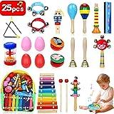 Jojoin Instruments de Musique pour Enfants, 25Pcs Set en Bois Percussion pour Bébé avec Xylophone, Tambourin, Triangle et Autre Instrument Jouets avec Sac de Transport