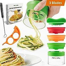 SONDERANGEBOT €7.97 1 TAG! 3 Klingen Spiralschneider Hand für Gemüsespaghetti kartoffel - mit BÜNDEL Kochbuch und enthält die Bürste für die Reinigung FabQuality Zucchini Spargelschäler, Gurkenschneider, Gurkenschäler