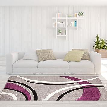 Teppich Modern Designer Wohnzimmer Havanna Bogen grau pink creme ...