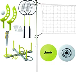 Franklin Sports Fun 5 Combo Set - Badminton - Volleyball - Ring Toss - Flip Toss - Flying Disc