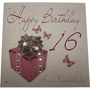 White Cotton Cards Wba16 Happy 16th Birthday Handmade Birthday Card